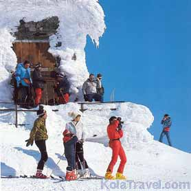 KolaTravel accommodation downhill skiing holidays Kirovsk Monchegorsk Kola Peninsula Russian Lapland March Khibiny mountains hotels polar circle night giant-slalom December January February April Russia ski-resorts slopes ski-tracks