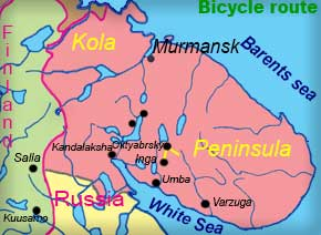 Biking tours, Cycling holidays, Russia, guided, Kola Peninsula, Russian Lapland, luggage transport, baggage transport, summer