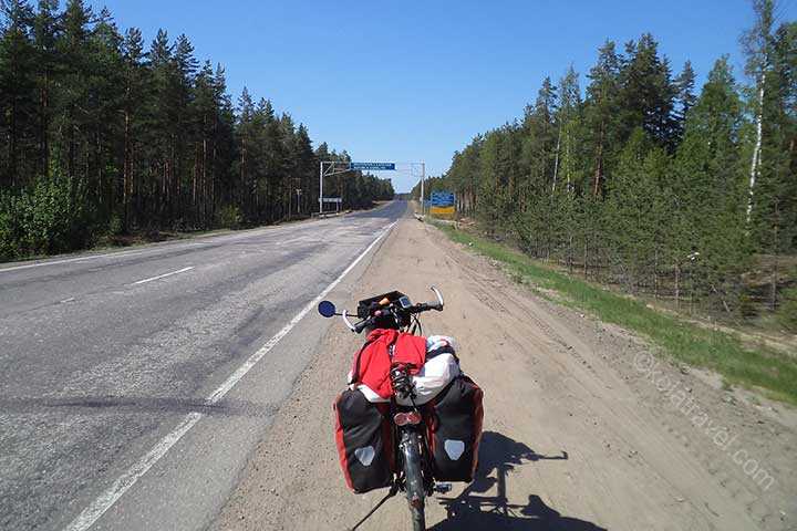 Long distance cycling tour from Saint Petersburg to Murmansk in Northwest Russia